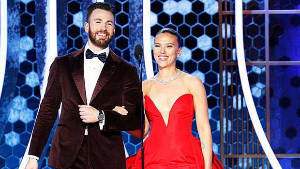 Chris Evans Helps Scarlett Johansson With Dress At Golden Globes Watch Hollywood Life Gossip Press